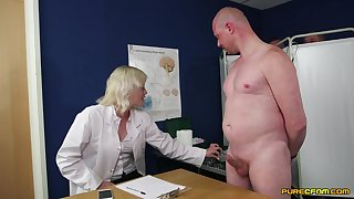 First seniority this clothed female doctor plays with her patient's dick