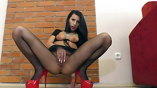 Milf in black fishnets, solo with her warm pussy