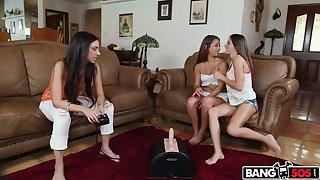 Lesbians dear one along to dildo machine