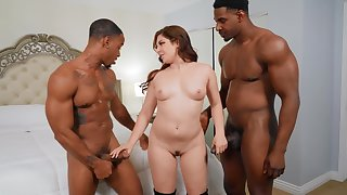 Interracial double penetration threesome with simmering Keira Croft