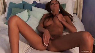 Hot ass brunette plays with her perfect boobs and juicy pussy