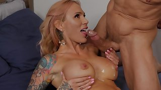 Tattooed wife Sarah Jessie in all directions boots gets fucked wits a neighbor
