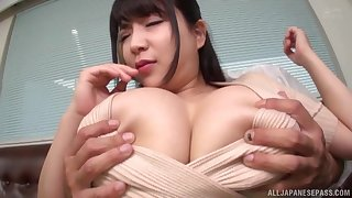 Massive tits Asian brunette rides on a friend's penis like no one before