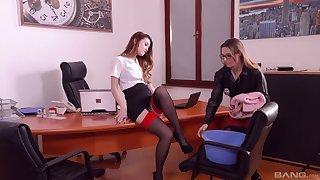 Samantha Bentley and Misha Cross enjoy lesbian sex in the office