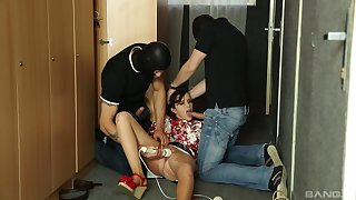 Masked females gag make an issue of teen slut in dirty trilogy