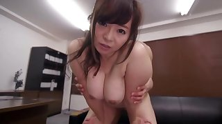 Asian milf with reference to huge tits, superb fuck at the office