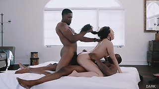 Cheating spliced Whiney Wright destroyed wide interracial threesome