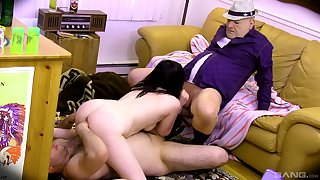 Teen slut suits boyfriend and his dad with respect to the right trio