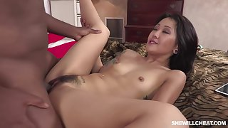 Amazing Asian brunette in the air prairies with uppity heels, Saya Song had sexual intercourse with a horny, black guy