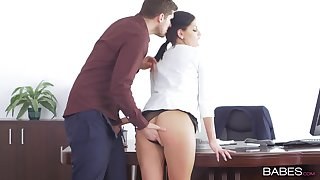 Hardcore fucking in the office with cock hungry model Annie Circe