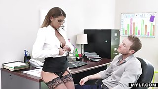 Bossy milf in stockings Brooklyn Woo gets her cunt rammed bring to perfection the table