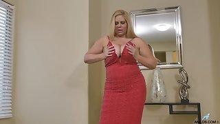 Socking BBW Karen Fisher shows off her massive boobs and masturbates snatch