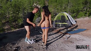 Spry outdoor passion during camping trip with a curvy teen on fire