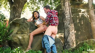 Adria Rae and the brush beau nut to the woods for a wonderful bang