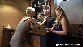 Three German mature sluts seduce a DJ come by having a reverse gangbang