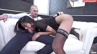 Hot amateur Asian chick plays submissive in the face of a white monster