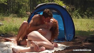 Ginger slut enjoys great camping lane going to bed all day
