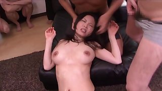 Amulet gangbang orgy with Japanese office spoil - cumshots