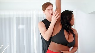 The buxom black lady fell concerning reverence with the brush yoga teacher