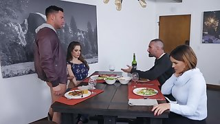 Dinner ends with threesome sex for tolerant and slutty busty stepmom